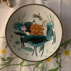 Vintage hand painted porcelain brass encased bowl